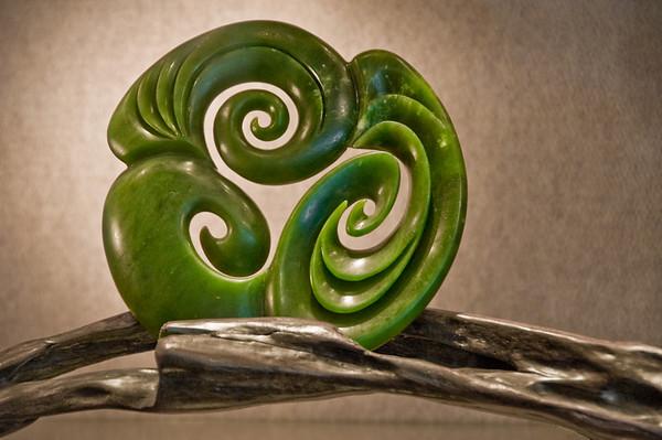 Jade carving by Des Hetherington Jade Factory Hokitika South Island Te Wai Pounamu New Zealand - Sep 2007
