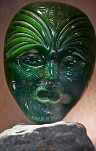 Jade mask Carved by Bevan Climo Jade Factory Hokitika South Island Te Wai Pounamu New Zealand - Sep 2007