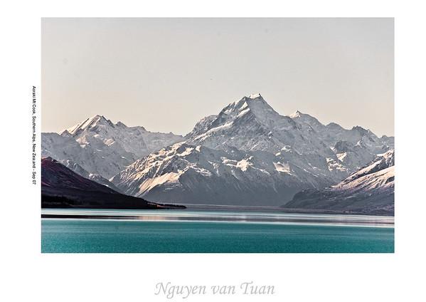 Aoraki Mt Cook and lake Pukaki McKenzies Country South Island Te Wai Pounamu New Zealand - Sep 07