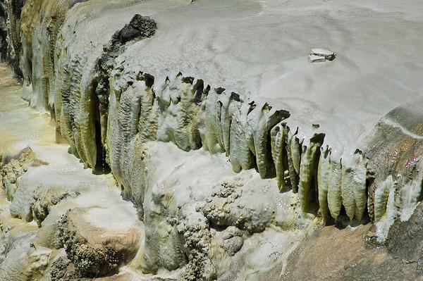 Frozen waterfall of dripstones at Whakararewarewa