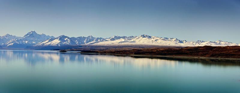 Aoraki Mt Cook and lake Pukaki South Island Te Wai Pounamu New Zealand