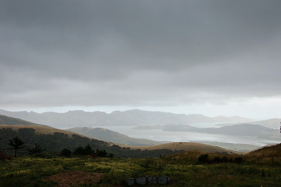 Lyttelton Harbour in the rain from the Summit Road Bank Peninsula