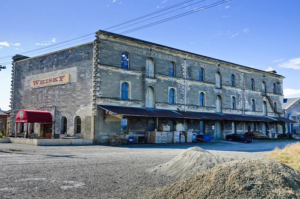 Old wood and grain warehouse Oamaru New Zealand
