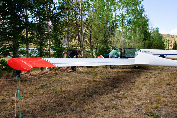 Glider pre-flight check Omarama Airfield