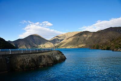 Lake Benmore at the dam Benmore Waitaki District South Island New Zealand