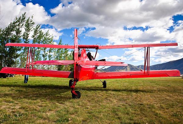 Red biplane Omarama Airfield