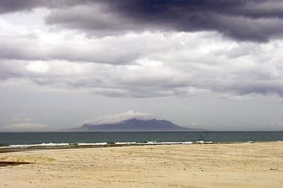 Little Barrier island from Pakiri beach Pakiri New Zealand - Sep 2002