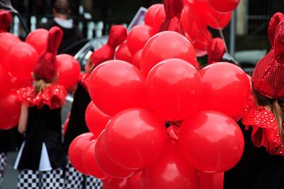 Red balloons Santa Parade Auckland