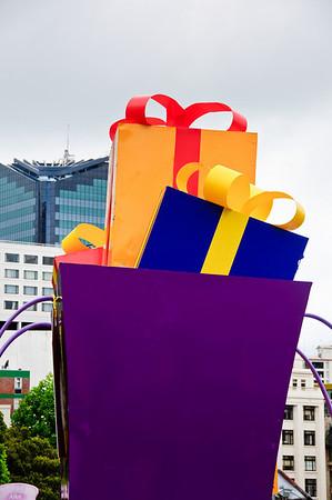 Gift packs float Santa Parade Auckland