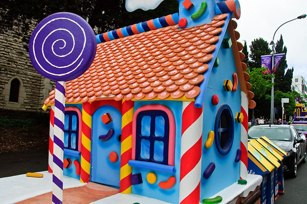The house of the Gingerbread Man Santa Parade Auckland