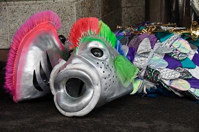 Fishy head masks Santa Parade Auckland