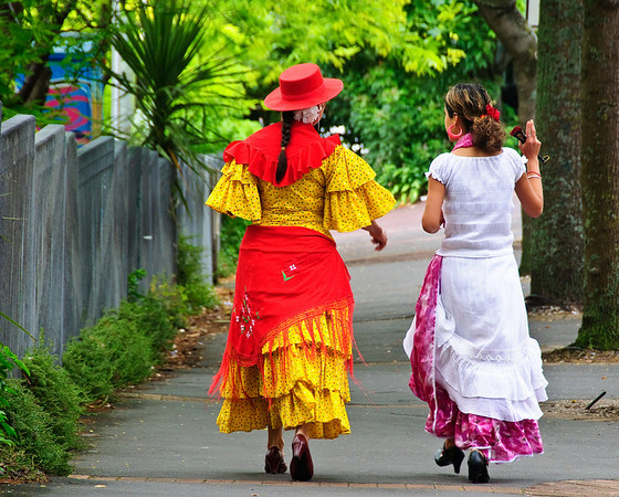 Two spanish looking women on the way to the Santa Parade Auckland