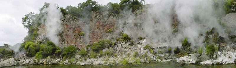 Hot cliffs  Lake Rotomahana Tarawera New Zealand - 5 Jan 2005