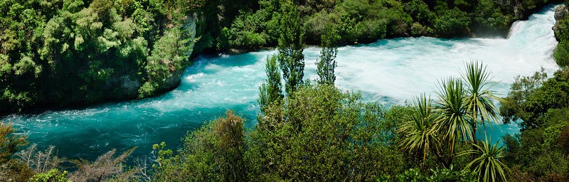 Huka Falls outflow into the Waikato River New Zealand