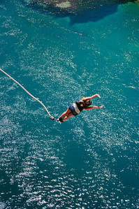 Bungee jumping over the Waikato River Taupo New Zealand