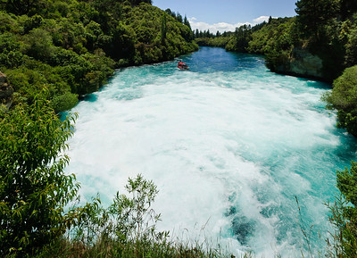 Downstream of the last stage of the Huka Falls North Island New Zealand