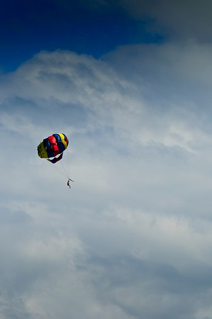 Paragliding over lake Taupo North Island New Zealand