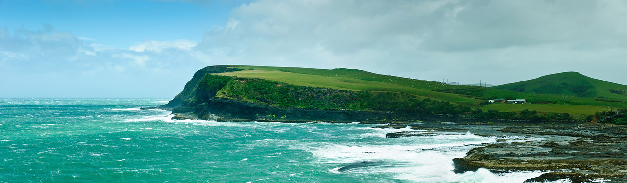 Curio Bay on a windy summer day The Catlins South Island New Zealand