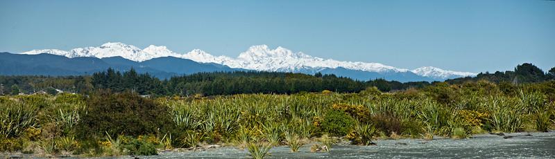 Southern Alps Hokitika river mouth Westland South Island Te Wai Pounamu New Zealand - Sep 07