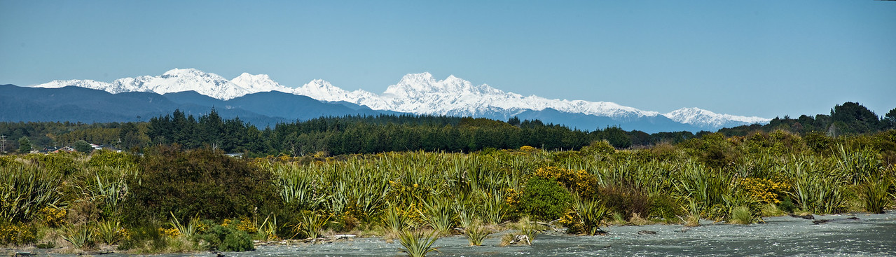 Southern Alps Hokitika river mouth Westland South Island Te Wai Pounamu New Zealand - Sep 07