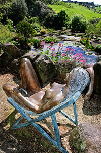 Reclining bronze lady Wright's Watergardens Patumahoe Franklin