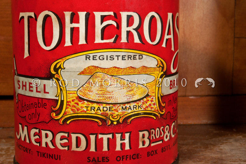DSC_5633 Toheroa (Paphies ventricosa) canned toheroas. Toheroa was  popular during the first half of the 20th century that three Northland canning factories were processing it. This is one of their old cans, from the factory at Tikinui. It has been illegal to harvest toheroa since 1993, as they are now generally infrequent to rare, though they are common at some localities. Main beds are along the west coast of the North Island and the south coast of the South Island. Dargaville *