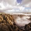 A dramatic blow hole along the coast at Punakaiki