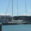 A better shot of NZ's two America's Cup boats (sticking out of building, above other long skinny yacht).
