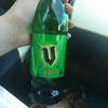 V energy drink in a glass bottle.  Cindy had about 50 of these as a supplement her coffee intake.