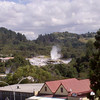 View from our hotel room in Rotorua of the geyser erupting.