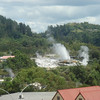 View from our hotel room (Heritage Park Hotel) to Geyser in Te-Pua going off.