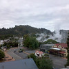 morning view from our Rotorua hotel room...on a cool morning like this, you can see steam rising everywhere from the geothermal activity!