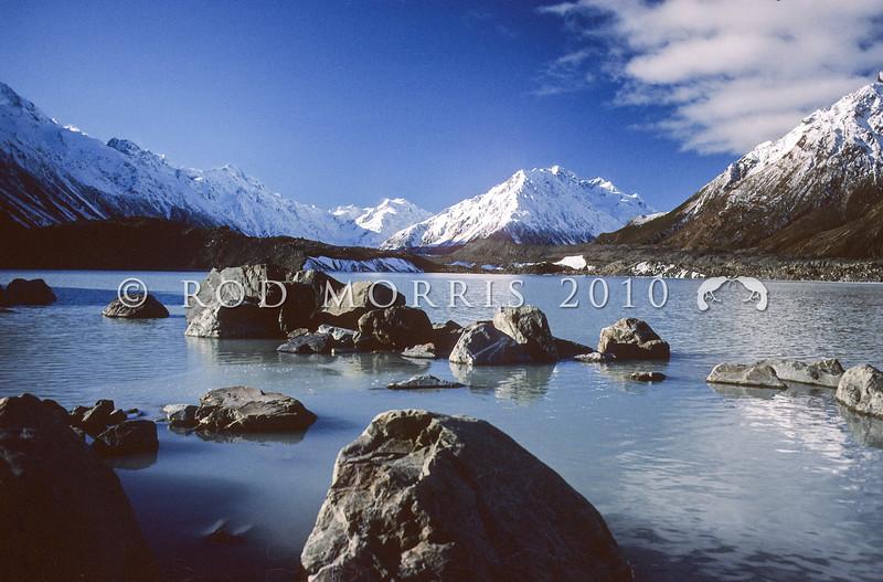 11011-75017  Mount Cook (Aorangi) scenery. Lake Tasman, formed after the Tasman Glacier receded *