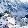 11001-70408  Fiordland scenery. Winter 'kakapo hunters' camp in the head of Sinbad Gully