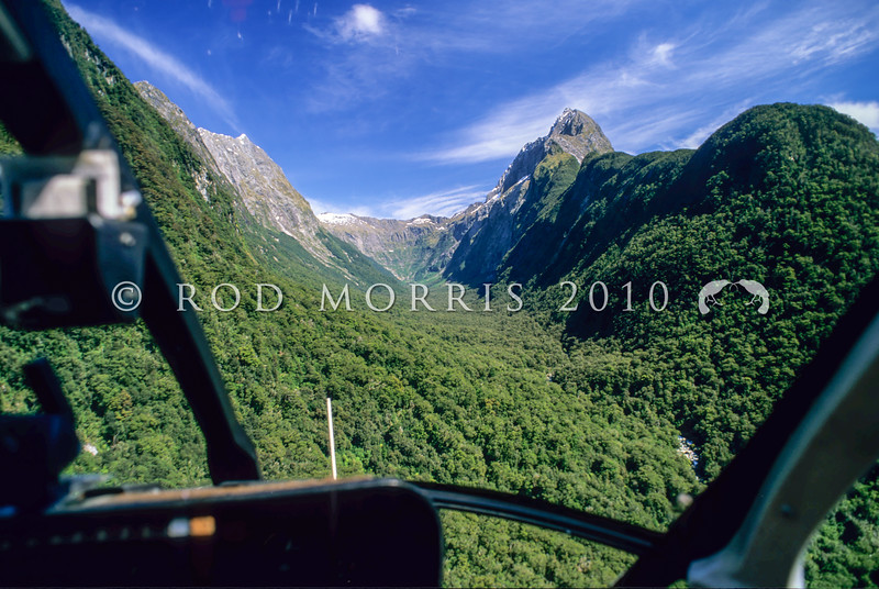 11001-57007 Fiordland scenery. View of Mitre Peak and lower Sinbad Gully from helicopter<br /> cockpit *