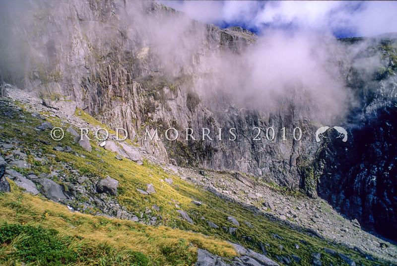 11001-57020 Fiordland scenery. View of 'Shadowland Wall' in the upper Sinbad Gully head basin *