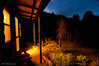 Riverhaven cabin at night.