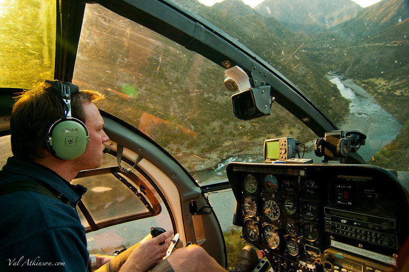 Reilly in the chopper over the tiki.