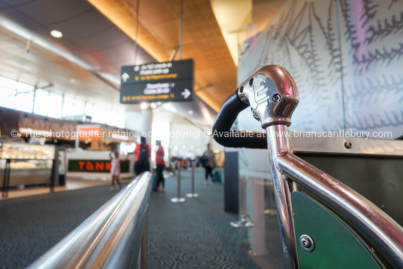 Auckland Airport  handle of trolley against defocused background