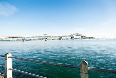 Auckland Harbour Bridge from Westhaven waterfront.