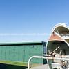 Green dinghy lockers of Devonport foreshore.