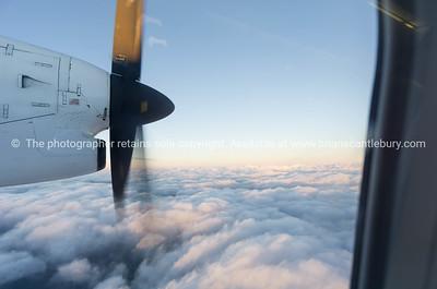 Through plane window.