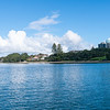 Buildings of Takapuna over bay from wharf