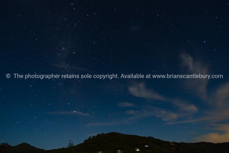 Dark night sky and stars above