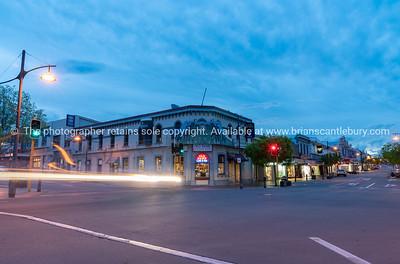 Night city lights, buildings car headlights