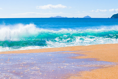 Tairua Ocean Beach. Coromandel Peninsula, crashing turquoise waves.