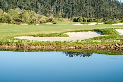 Golf course lake. Golf course lake, Pauanui. Lakes Golf Resort. New Zealand images.