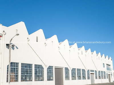 Saw tooth roofing feature old industrial building, Napier, New Zealand.