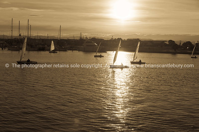 Napier waterfront, Westshore, Ahuriri, yachts returning at sunset.
