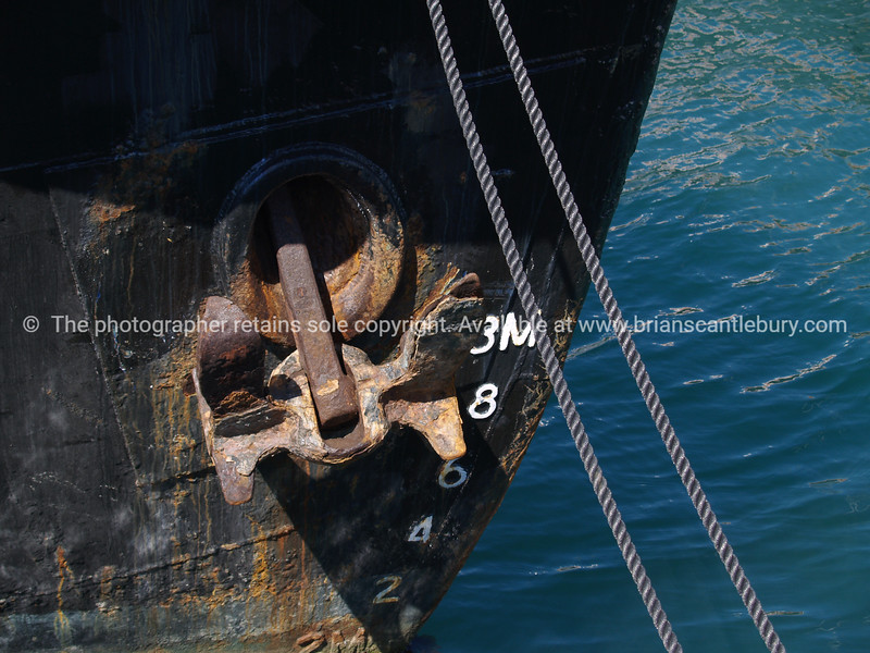 Steel boat bow close-up. New Zealand images.